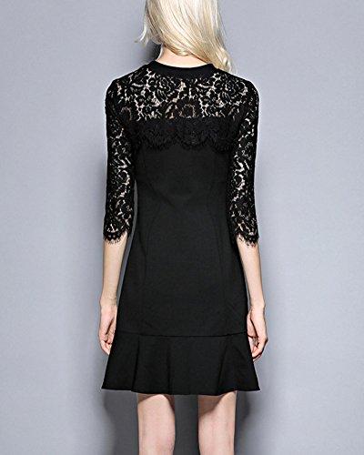 Vestidos de Encaje Mujer Delgado Vestido de Verano Vestir Cóctel Mini Vestido Negro