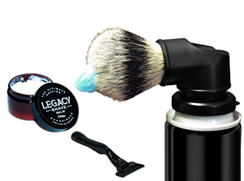 Legacy Shave - Evolution Brush Wet Shave Gift Set - Includes: Evolution Brush, 5 Blade Razor, & After Shave Balm - Best Razor Wet Shaving Kit for Smooth Shave - 3 Piece Kit
