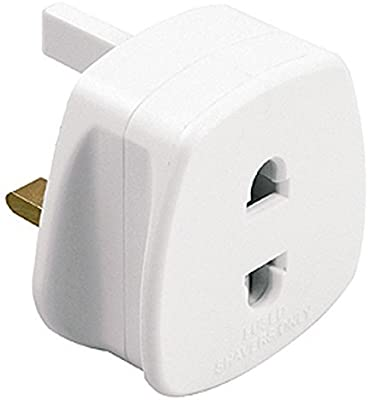 Pro Elec 1 A 3 To 2 Pin Socket Adapter For Shaver White Pack Of 2