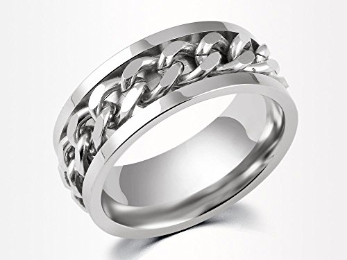 Spinner Ring Men, Silver Braided Band for Wedding,Custom Engraved Stainless Steel, Inlay Chain, Gift for Him
