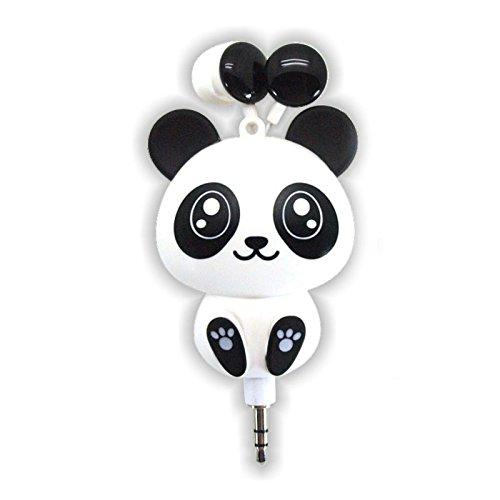 Retractable Cute Earbuds 3.5mm Cartoon Cat Panda for iPhone/Samsung/Mp3 Headphones/Earphones(White/Black)