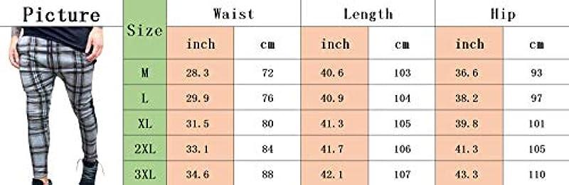 SOMTHRON Skinny Slim Fit męskie spodnie dresowe, w kratkę, ze ściągaczem, w paski: Odzież