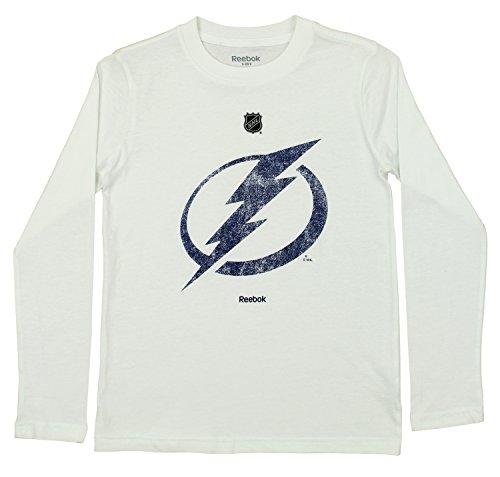 Reebok NHL Youth's Tampa Bay Lightning Long Sleeve Distressed Team Logo Tee, White Medium ()