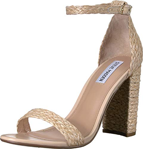 (Steve Madden Women's Carrson Heeled Sandal, Natural Raffia, 7 M US)