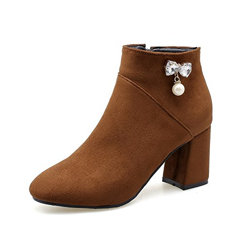 Boots Round Kitten Women's Solid PU Heels Toe AgooLar Zipper Brown p8aq4nY