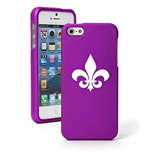 Apple iPhone 5 5S Purple Rubber Hard Case Snap on 2 piece Fleur de lis