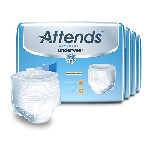 Attends Advanced Protective Underwear with Advanced DermaDry Technology for Adult Incontinence Care, Medium, Unisex, 20 Count (Pack of 4)