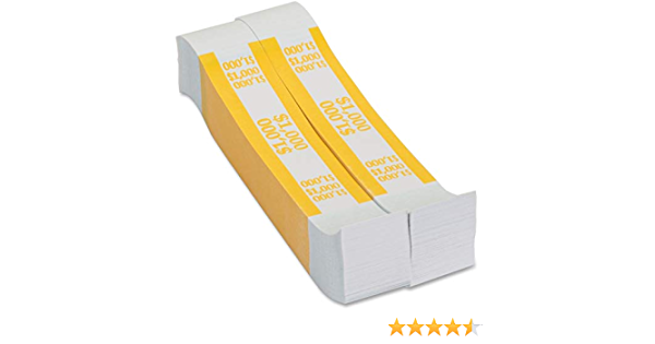 $1000 SELF-SEALING CURRENCY STRAPS//BANDS 50  YELLOW