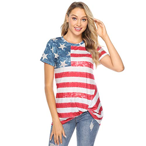 American Flag Printed Shirts for Women,BOLUBILUY Short Sleeve O Neck Tops Loose Flowy Tunic 4th of July Apparel Blouses Red