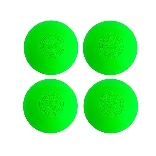 Signature Lacrosse Ball Set - Massage Balls, Myofascial Release Tools, Back Roller, Muscle Knot Remover, Firm Rubber -Scientifically Designed for Durability - 4 Green Lacrosse Balls