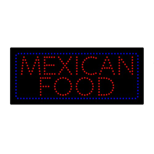 LED Mexican Food Open Light Sign Super Bright Electric Advertising Display Board for Tacos Burritos Tortas Street Eats Restaurant Business Shop Store Window Bedroom 32 x 13 inches ()