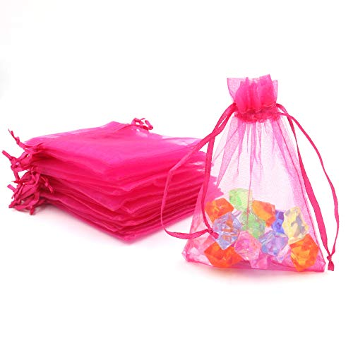 ATCG 200pcs 3x4 Inches Drawstring Organza Pouches Wedding Party Jewelry Favor Gift Candy Bags (Hot Pink)