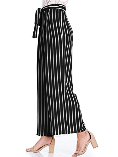 Design by Olivia Women's Stripe Print Waist Self Bow Tie Crepe Long Pants,Ipaw035 Black,Small ()