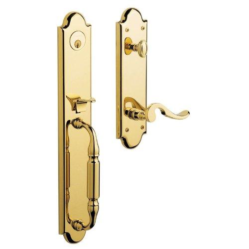 (Baldwin 6401003LFD Lifetime Polished Brass Estates, Devonshire Dummy Set Handleset 6401.LFD)