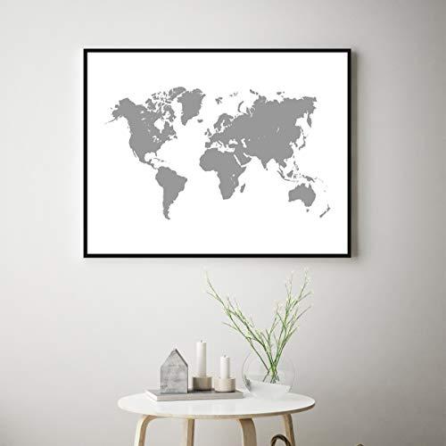 Les Connie Map of The World Printable Grey Digital Map Print Grey Decor Minimalist Print Scandinavian Office Decor Home Decor Nordic Wall Art ()
