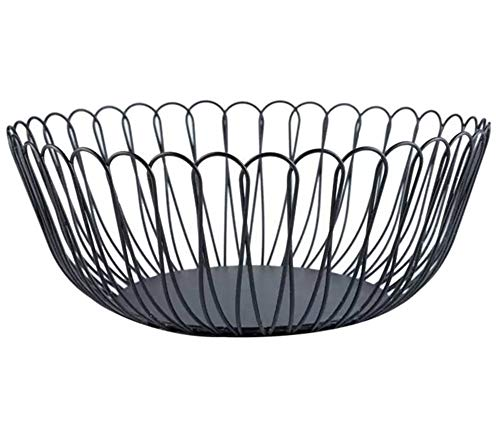 Metal Wire Fruit Storage Basket Bowl, Large Creative Black Decorative Centerpiece Plate Holder for Modern Kitchen Counters, Living Room Table, 10.62 Inch (Petals)
