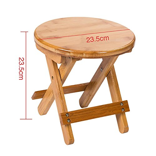 SFZMRYLSY Folding Wooden Stool Portable Mazar Fishing Stool Round Stool Antirust Anti-Mold Foldable Suitable for Living Room/Balcony/ Outdoor Small Chair Bamboo Low Carbon Wood Color, ()