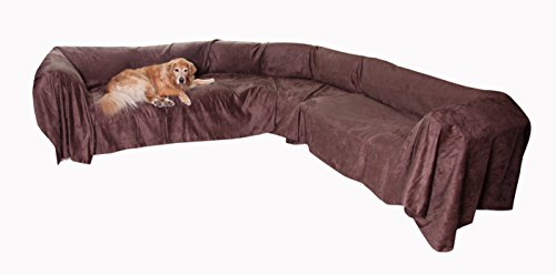 "Floppy Ears Design Extra Wide Simple Faux Suede Microfiber Sectional Couch Cover Protector (Chocolate, XXL Sectional 105"" W x 250"" (Faux Suede Slipcover)"