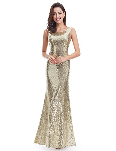 Ever Pretty Back Cowl Neck Shine Sequin Sparkle Elegant Gold Evening Party Gown 07110