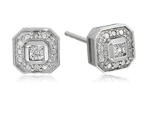 Sterling Silver and Diamond Square Stud (Diamond Stud Square Earrings)