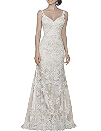 XYHDTQ V-Neck Sexy Blackless Lace Mermaid Court Bridal Gowns Wedding Dresses