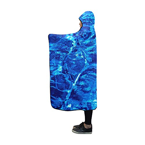 AIKENING Hooded Blanket Pool Water Wave Swimming Surface Transparent Blue Blanket 60x50 Inch Comfotable Hooded Throw Wrap