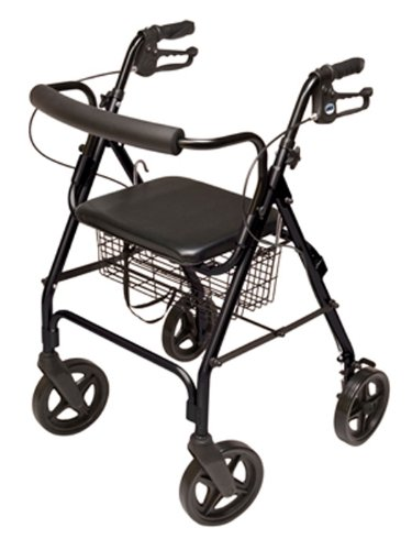 Lumex Aluminum Rollator with Curved Back Wheels, 8 Inches, B