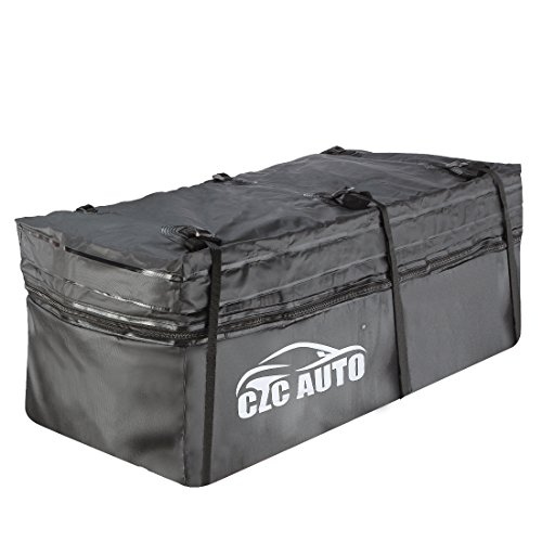 CZC AUTO Expandable Hitch Cargo Carrier Bag 9.5 cu. ft Extends to 11.6 cu. ft, Waterproof/Rainproof/Weatherproof, for Car Truck SUV Vans' Hitch Trays Hitch Baskets, Safe Steady Durable Soft Black by CZC AUTO
