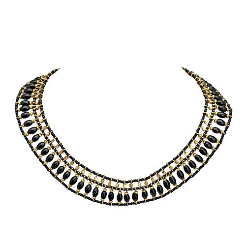 Zephyrr Fashion Jewellery Tibetan Style Bib Necklace Black & Gold Beaded Contemporary