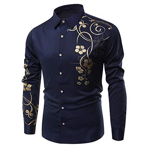 Shirts for Men Men Autumn Winter Casual Flower Printed Long Sleeve Slim T-Shirt Top Blouse Design Print Dress shirtwinter Striped Beach Dark Blue
