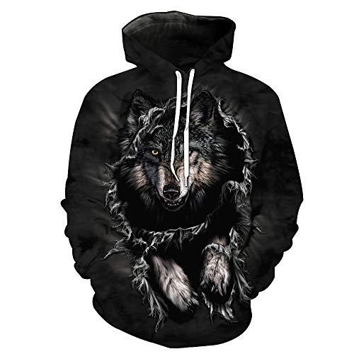 Xinantime Womens Hoodies 3D Printed Wolf Pullover Long Sleeve Hooded Sweatshirt Tops Blouse(Black,L)