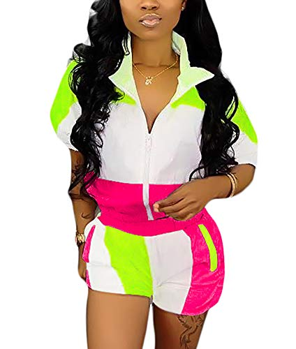 VOIKERDR Summer Windbreaker Short Sleeve Colorblock Zipper up Tops and Striped Short Pants Tracksuit Set