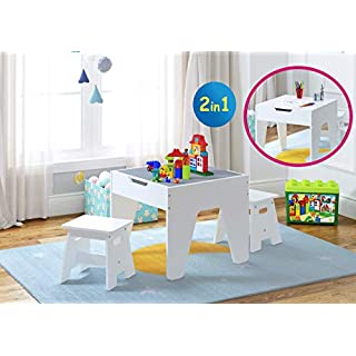 UTEX Kids Construction Play Table with Storage and Built in Plate, Kid's Multi Activity Table with 2 Stools Set with Storage,White