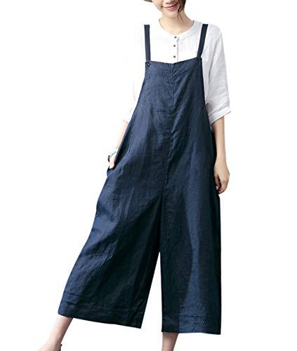 (YESNO PZZ Women's Casual Linen Copped Bib Pants Wide Leg Jumpsuits&Romper Overalls/w Pockets (L, Navy Blue))
