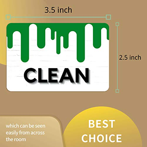 Dishwasher Magnet Clean Dirty Sign - Reversible Dish Washer Indicator, Double Sided Strong Kitchen Flip Indicator, Newest Design Green and Red Magnet