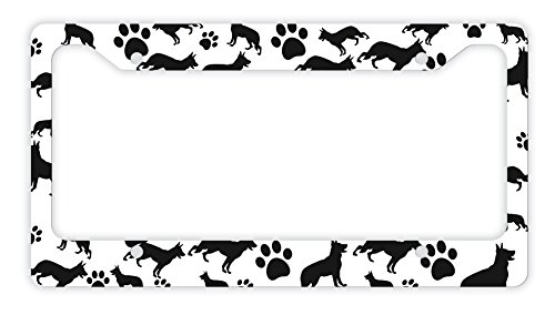ThisWear German Shepherd License Plate Frame Dog Silhouette Paw Print License Plate Frame German Shepherd Gifts Dog Lovers Novelty License Plate German Shepherd