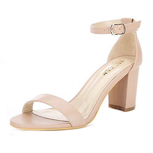 Eunicer Women's Single Band Classic Chunky Block High Heel Sandals with Ankle Strap Dress Shoes (Nude)