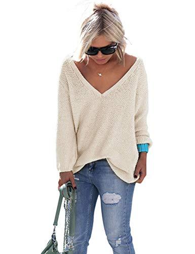 ZHENWEI Womens V Neck Sweater Soft Wool Shirt Long Sleeve Pullover Oversized