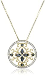 Yellow Gold-Plated Sterling Silver Necklace with Diamonds and Gemstones