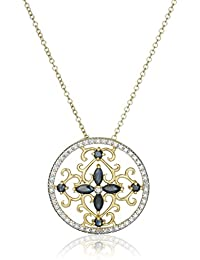 """18k Yellow Gold Plated Gemstone and Diamond Accent Filigree Medallion Pendant Necklace, 18"""""""