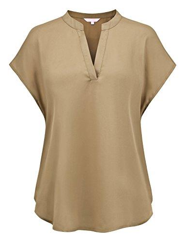 Regna X Women Brown Solid Henley v-Neck Work to wear Short Sleeve Tank Top - V-neck Sleeve Cap Henley