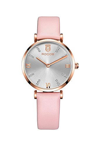 Gorgeous Pink Rhinestone Watch (ROCOS Women's Watch Quartz Watch Analog Wrist Watches Waterproof Leather Band Bracelet Wristwatch for Ladies Gift (Pink))
