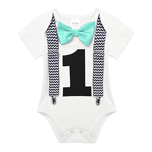 iEFiEL Baby Boys Short Sleeves My 1st Birthday Bodysuit Romper One-Piece Jumpsuit Party Photography Outfits Mint Green with Suspenders 18 Months
