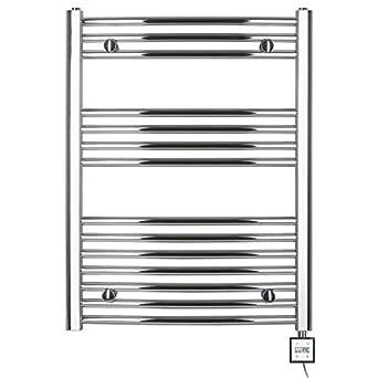Radiador toallero eléctrico H 775 x 600 ancho,con temporizador curvada de cromo: Amazon.es: Iluminación