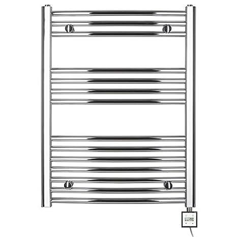 Radiador toallero eléctrico H 775 x 600 ancho,con temporizador curvada de cromo
