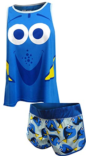Disney Women's Finding Dory 2 Piece Shorty Pajama Set, Blue XL