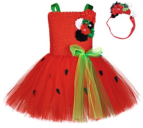 SanLai Baby Girls 1st Birthday Strawberry Outfit Dress Up Halloween Fruit Tutu Dress Costumes for Little Girls with Headband 1T 2T