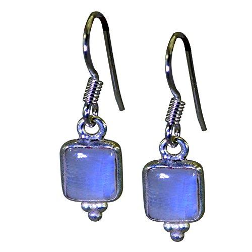 Rectangle Earrings Shape (Gemsonclick Natural Rainbow Moonstone Earrings For Women Rectangle Shape 925 Sterling Silver Hook June)