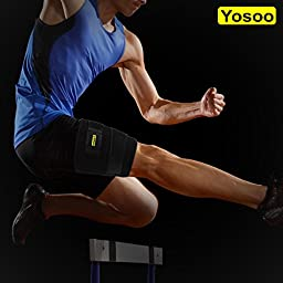 Yosoo Thigh Wrap with Silicone Anti-slip Strips Adjustable Neoprene Hamstring Brace Support for Pulled Hamstring Strain Injury Tendonitis Rehab and Recovery, Fits Men and Women, Black