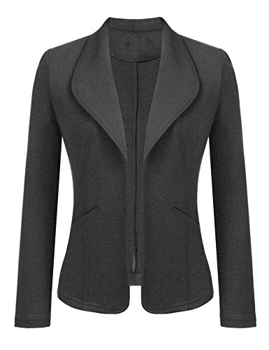 Dealwell Women's Solid Long Sleeve Open Front Slim Fit Casual Blazer Jacket Black XL